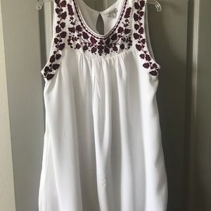 Lucky brand white dress with floral embroidery.
